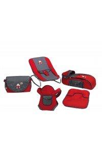 Happy Baby Class 5li Bebek Bakım ve Taşıma Seti Kırmızı Gri